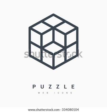 Isometric cube isolated minimal single flat linear icon. Line vector icon for websites and mobile minimalistic flat design. Modern trend concept design style illustration symbol - stock vector