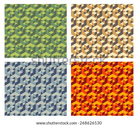 isometric cubes pattern, vector - stock vector