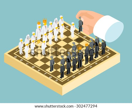 Isometric 3d business chess figures. Business strategy concept. Competition and board, chessboard and rook, chessman knight, vector illustration - stock vector