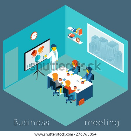 Isometric 3d business meeting. Teamwork and brainstorm, collaboration and coworker, process conference, vector illustration - stock vector