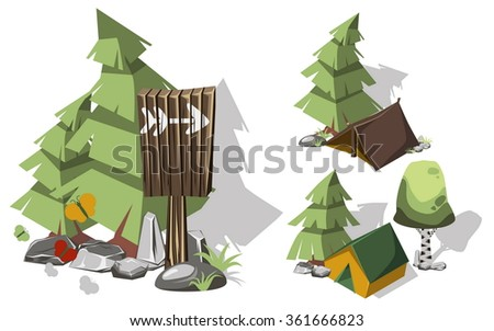 Isometric 3d camping elements for landscape design. Tent and spruce, pointer and brich, butterflies and stone. Vector illustration