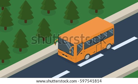 Isometric 3D concept vector vehicles on the road, transportation of passengers in the bus. Standing on the site of transport.