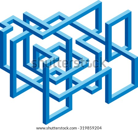 Isometric 3D cubical blue shape for construction company branding - stock vector
