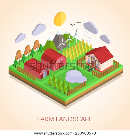 Isometric 3d Farm Landscape illustration. Ecology concept for countryside life and green energy. Flat style design. Vector illustration. - stock vector