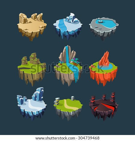 Isometric 3d Islands mountains lake waterfall volcano, Elements for games - stock vector