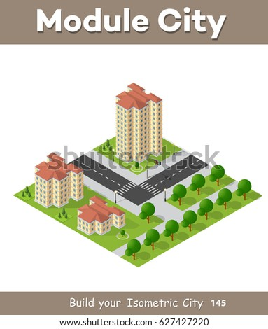 Isometric 3D Landscape Top View Building Of Modern City Architecture Area Urban Construction Drawing