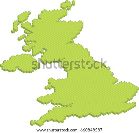 isometric 3D map of the United Kingdom England Wales Scotland North Ireland isolated vector country blocks