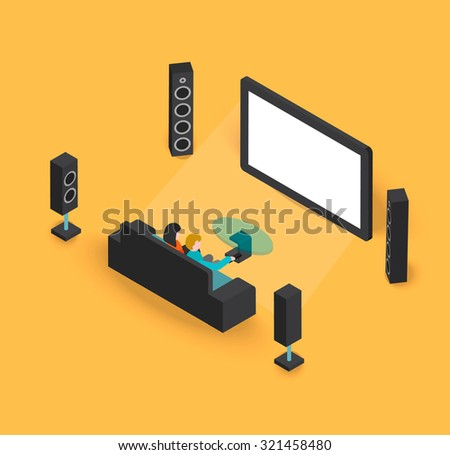 Isometric 3d modern living room home cinema, vector illustration. People watching movie on tv. - stock vector