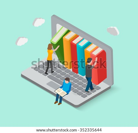 Isometric 3d online library concept with little people taking books from laptop, vector illustration - stock vector