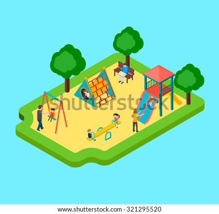 Isometric 3d playground with kids playing, children swinging and sliding, vector illustration - stock vector