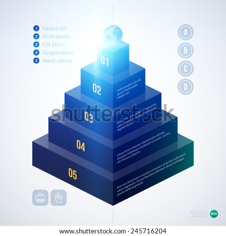 Isometric 3d pyramid chart template on white background. EPS10 - stock vector