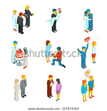 Isometric 3d relationship and wedding people icons set.  Couple love, people woman and man family, vector illustration - stock vector