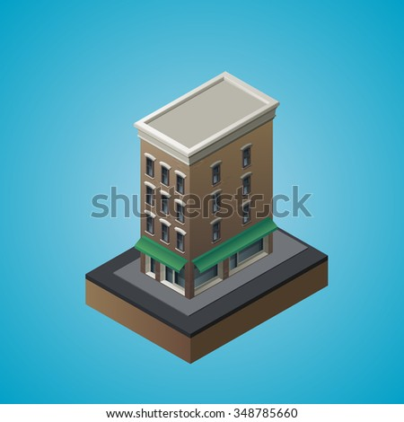 Isometric 3d residential building. Vector illustration