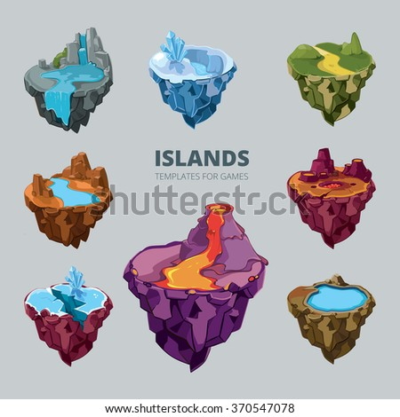 Isometric 3d set of flying islands. Landscape cartoon nature, land fantasy, rock and ground and mountain for game, vector illustration - stock vector