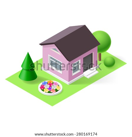 Isometric 3d small home with flowers, green grass and trees - stock vector