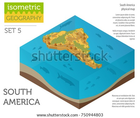 Isometric 3 D South America Physical Map Stock Vector (Royalty Free ...