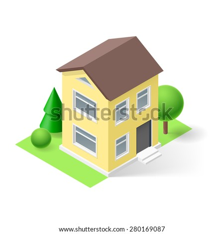 Isometric 3d  yellow small house  with flowers and trees