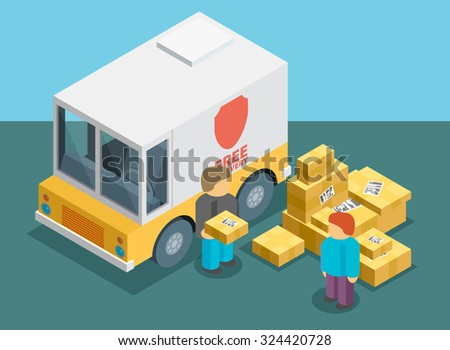 Isometric delivery service vector  - stock vector