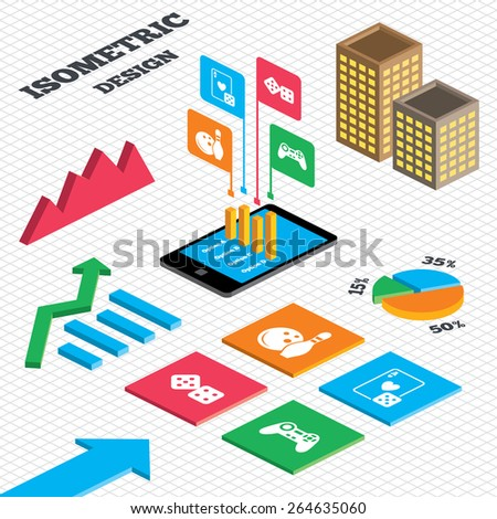 Isometric design. Graph and pie chart. Bowling and Casino icons. Video game joystick and playing card with dice symbols. Entertainment signs. Tall city buildings with windows. Vector - stock vector
