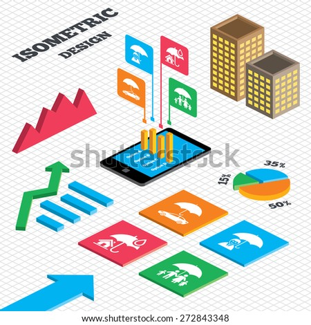 Isometric design. Graph and pie chart. Family, Real estate or Home insurance icons. Life and umbrella symbols. Car protection sign. Tall city buildings with windows. Vector - stock vector