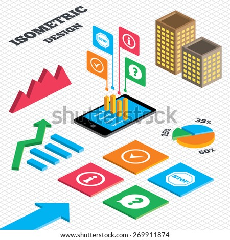 Isometric design. Graph and pie chart. Information icons. Stop prohibition and question FAQ mark speech bubble signs. Approved check mark symbol. Tall city buildings with windows. Vector - stock vector
