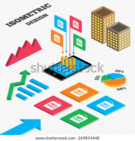 Isometric design. Graph and pie chart. Sale bag tag icons. Discount special offer symbols. 30%, 50%, 70% and 90% percent sale signs. Tall city buildings with windows. Vector
