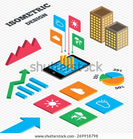 Isometric design. Graph and pie chart. Weather icons. Cloud and sun signs. Storm or thunderstorm with lightning symbol. Gale hurricane. Tall city buildings with windows. Vector - stock vector