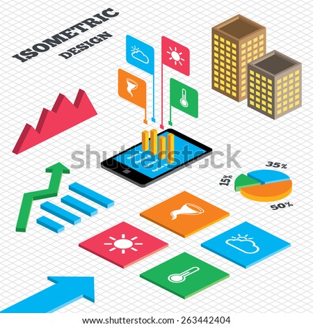 Isometric design. Graph and pie chart. Weather icons. Cloud and sun signs. Storm symbol. Thermometer temperature sign. Tall city buildings with windows. Vector - stock vector