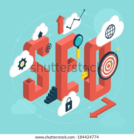 Isometric design modern vector illustration concept of SEO word with icons of success internet searching optimization process - stock vector