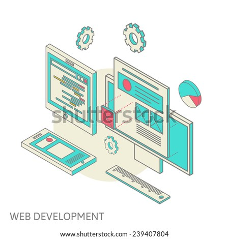 Isometric design of mobile and desktop website design development process, vector illustration - stock vector