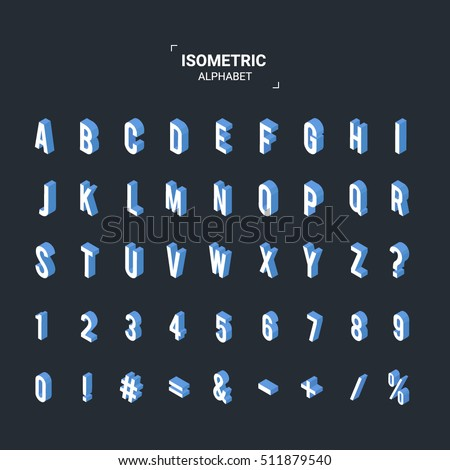 isometric design style font abc alphabet 3d letters numbers and symbols flat
