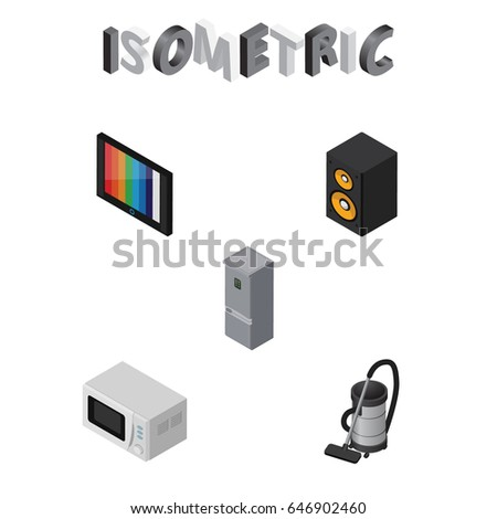 isometric device set television vac kitchen stock vector 646902460