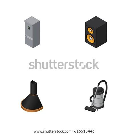 isometric device set vac music box stock photo photo vector