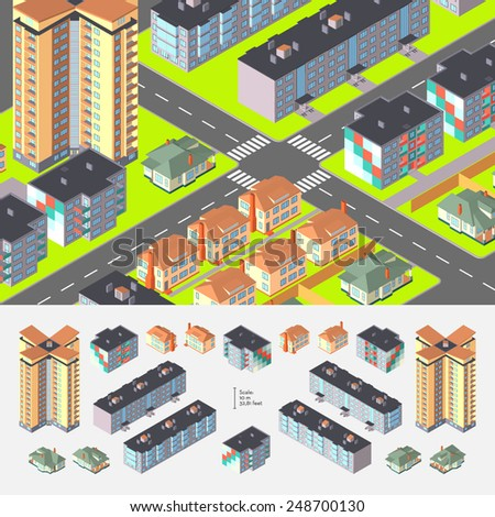 Isometric Dwelling Buildings. Editable with elements logically layered - stock vector