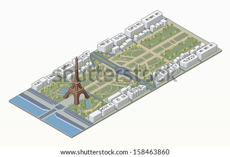 Isometric Eiffel tower and Champ de Mars in Paris in editable vector file - stock vector