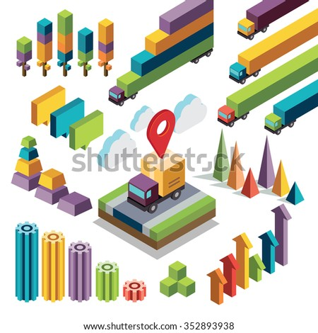 Isometric elements in vector format