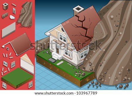 Isometric Exterior House Crack Landslide Disaster Avalanche Dangered Door Earthquake Hit Fireplace Windows Isometric House Vector 3D Illustration