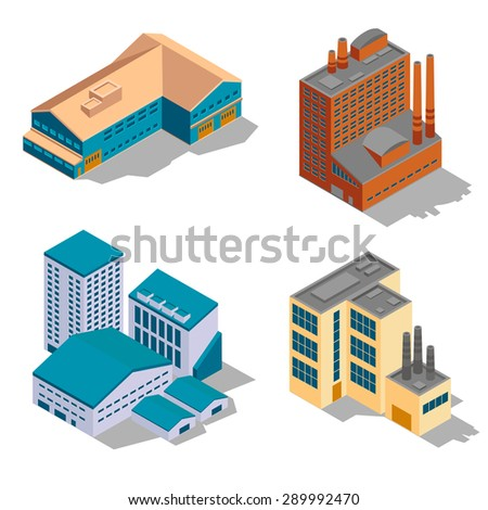Isometric factory and industrial buildings set. Plant business, architecture construction, power structure, vector illustration - stock vector