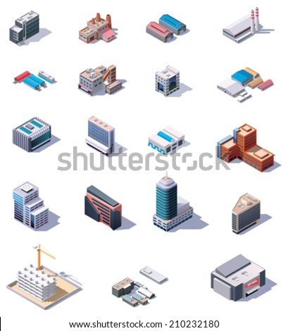 Isometric factory and office buildings set - stock vector