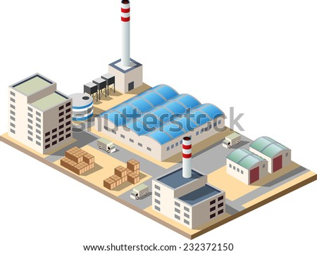 Isometric factory consists of a hangar, boiler, boiler room and storage - stock vector