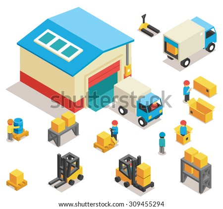 Isometric factory distribution warehouse building with trucks, electric trolleys and goods. Vector 3d icons set. Industrial delivery cargo, transportation and pallet illustration - stock vector