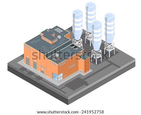 Isometric Factory With Storage Silos. A large industrial factory with storage tanks and silos. - stock vector