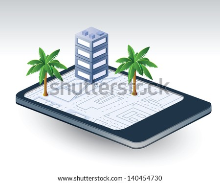 Isometric fantasy of the city and the communication - stock vector