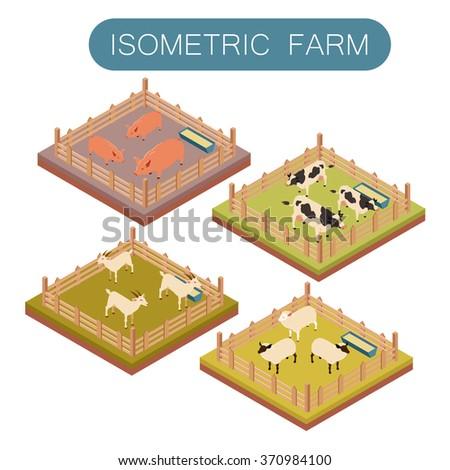 Isometric farm animals set - stock vector