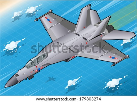 Isometric Fighter Bomber in Flight in Front View  - stock vector
