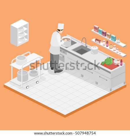 Restaurant Kitchen Illustration 3d restaurant banque d'image libre de droit, photos, vecteurs et