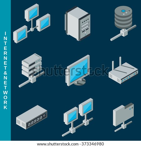 Isometric flat 3d internet and network equipment icons set - stock vector