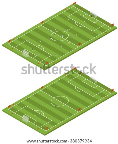 Isometric flat 3D soccer field template in 2 variants - blank and with players. - stock vector