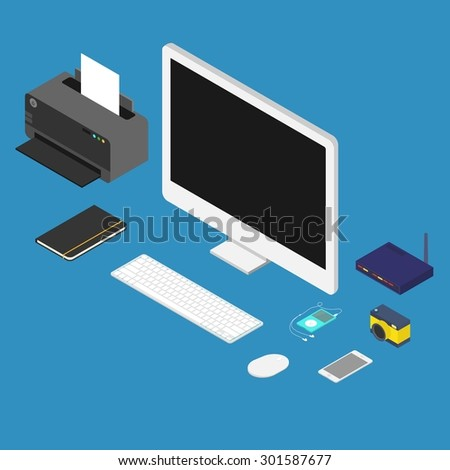 isometric flat design vector illustration of office workplace