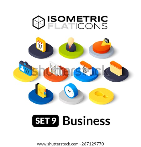 Isometric flat icons, 3D pictogram vector set 9 - Business symbol collection  - stock vector